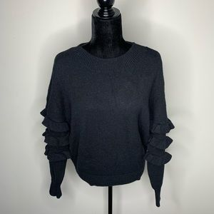 Line + Dot Black Tiered Sleeve Sweater Small